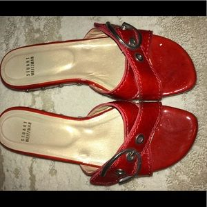 Stuart Weitzman Red Patent Clogs